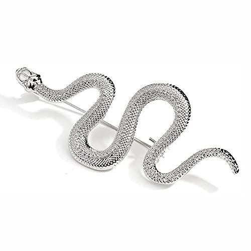 OMKMNOE Broche Diseño Único Oro Color Serpiente Broches, Hombres Dama Lujoso Metal Serpiente Animal Broche Pasadores Fiesta Casual Joyería Regalos, Plata