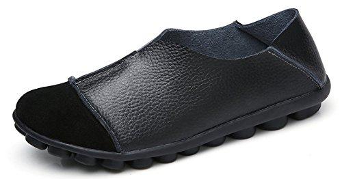 Yooeen Mocasines de Cuero Piel Mujer Moda Planos Zapatos del Barco Los Cómodos Zapatos de Conducción Casual/Suela Exterior con Función de Masaje