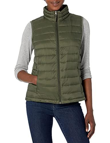 Amazon Essentials Women's Lightweight Water-Resistant Packable Puffer Vest, Olive, Large