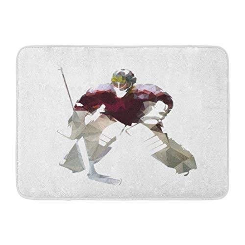 Kanaite Fußmatten Badteppiche Outdoor/Indoor Fußmatte Torwart Eishockey Goalie in Dunkelrot Jersey Abstrakt Polygonal Sport Action Badezimmer Dekor Teppich Badteppich