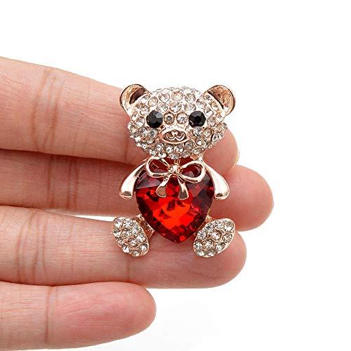ZWLZQ Broschen Brosche 3 Farben wählen große Kristallherz-Bärn-Brosche-niedliche Tierstifte und Broschen für Frauenkleid-Mantel .red