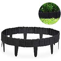 Relaxdays, Gris Oscuro Valla de jardín Decorativa, Set de 10 bordillos para césped, Estrecho, 10 cm, 10er Pack