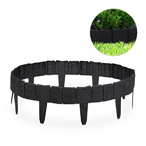 Relaxdays, Gris Oscuro Valla de jardín Decorativa, Set de 10 bordillos para...