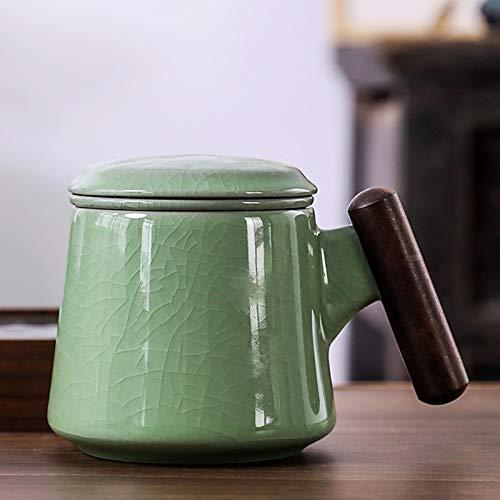 YTO El Horno GE Kiln RU Puede Levantar la Taza de té de Kung Fu, cerámica, Taza de té con Filtro con Tapa, Juego de té