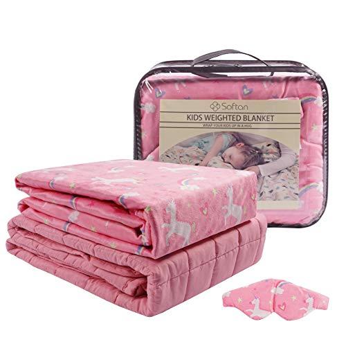softan Kinder Beschwerte Gewichtete Decke 3 Stück(100 x 150cm 3kg)-TherapieDecke,Premium Cover, Schlafmaske, Rosa Einhorn