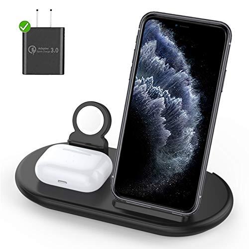 Lopnord Chargeur sans Fil 3 en 1, Station de Charge sans Fil Rapide Qi pour Phone 11/11 Pro Max/XR/XS Max/Xs/X/8/8P, AI Pod Pro 2, Watch Series 6/5/4/3/2/1