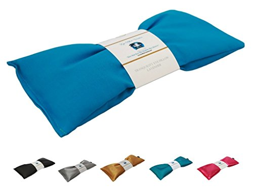 Eye Pillow Vacation Organic Flax Seed Filled Lavender Eye Pillow, Turquoise - Organic Cotton