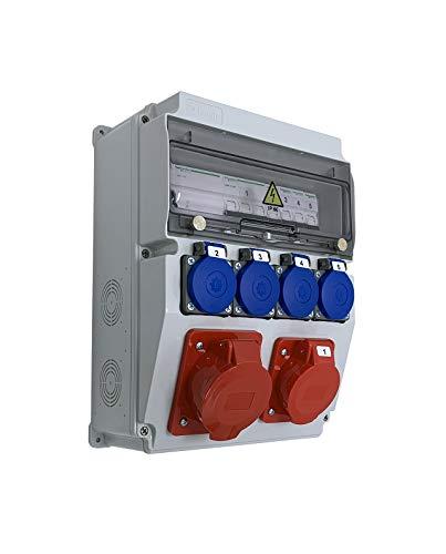 Caja de obras monofásica/trifásica equipada con ASTAT 295 Plus, IP65 1x32A/5P, 1x16A/5P, 4x230V SCHUKO IP44, disyuntores Schneider