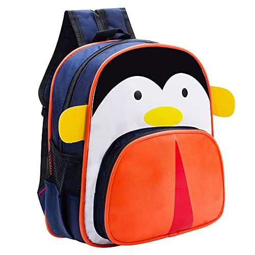 Mochila Escolar Infantil Menino Menina Animais (Azul-Pinguim)