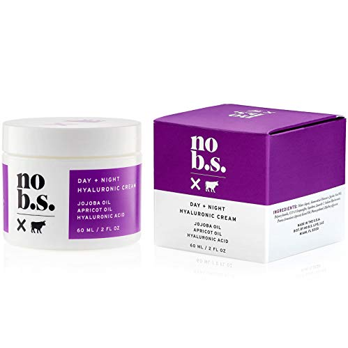 No B.S. Hyaluronic Cream For Face - Day + Night with Hyaluronic Acid, Jojoba Oil & Apricot Oil. Potent Formulas. Clean Skincare.