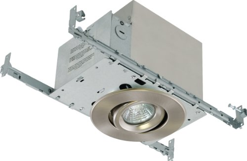Liteline RC40518RE-BN All-in-One 4-Inch Recessed Combo with Insulated Ceiling Housing, 50W 120V Par 16 Halogen Lamp and Gimbal Trim, Brushed Nickel