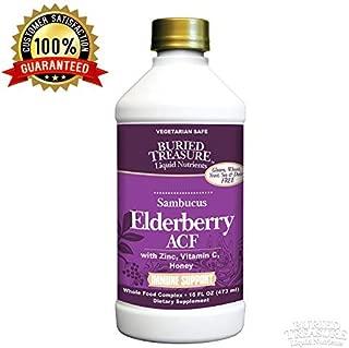 Buried Treasure Elderberry ACF with 4,000 mg Elderberry Sambucus Whole Fruit Concentrate, Vitamin C Plus Raw Local Honey Liquid Immune Support 16 oz