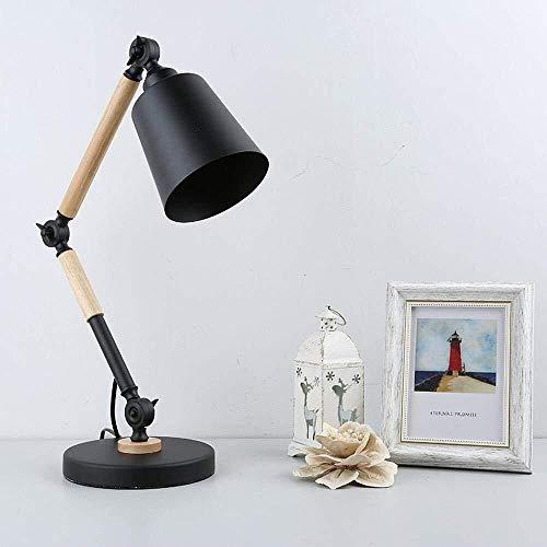 ZLX Minimalista Diseño Moderno Nórdico Industrial Lámpara De Escritorio LED con La Pantalla del Hierro, De Madera Y Brazo Interruptor del Botón For El Dormitorio, Estudio, Negro