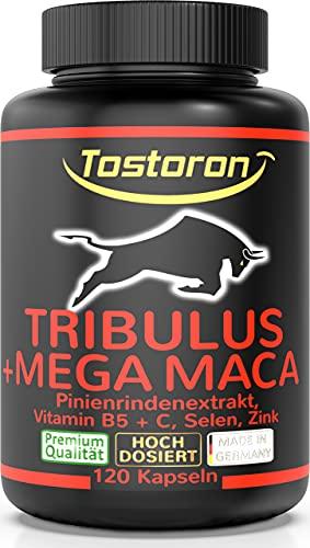 Tostoron TRIBULUS + MEGA MACA extra stark + hochdosiert + Pinienrinden Extrakt, Vitamin C + B5, Zink, Selen, 120 Kapseln, 1 Dose (1x100g) laborgeprüft, hol dir den TOSTORON HAMMER direkt nach Hause!