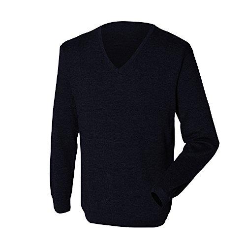 Henbury - Pullover avec col en V - Homme (XL - 112/117cm) (Bleu marine)
