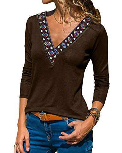 YOINS Sexy Oberteil Damen Langarm Pullover Damen sexy Winter Herbst Pullover Langarmshirt Sweatshirt Stickerei Oberteile Farbverlauf Colorblock Bluse Kaffee L