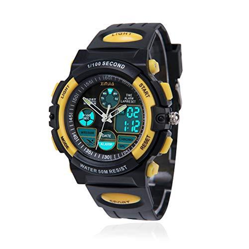 Kinderuhr für Jungen,Digital Analog Armbanduhr 50M wasserdichte Sportuhr im Freien mit Alarm/Stoppuhr/LED-Licht für Jugendliche(Schwarz-Gelb)
