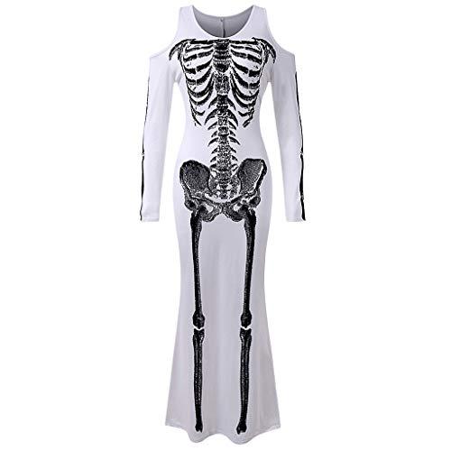 MOMBIY Disfraz de esqueleto de segunda piel, mono de mujer, disfraz de cosplay, vestido de fiesta de Halloween divertido para adultos, blanco, XL