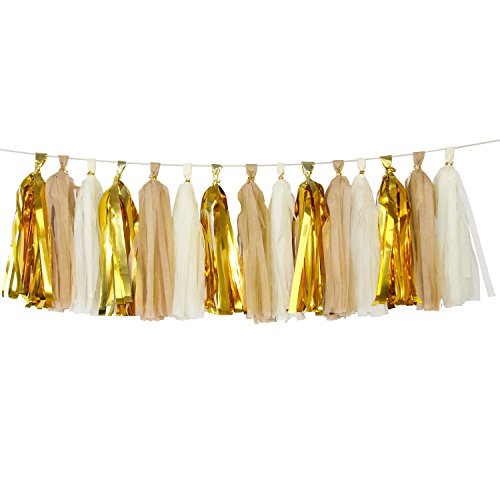 (Tan+Ivory+Metallic Gold) - KOKER Tassel Garland, Tissue Paper Tassels for Wedding, Baby Shower, Event & Party Supplies, 15 pcs DIY Kits Package Contains Instructions - (Tan+Ivory+Metallic Gold)