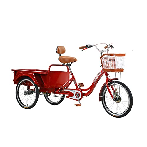 WGYDREAM Triciclo per Adulti Tricicli Adulti Trikes Bicicletta A 3 Ruote Bicycle Tricycle Bike Regolabile Sedile Schienale Simple Modern City Bike for Men Donne Seniors Gioventù Shopping(Color:Rosso)