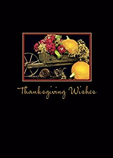 Thanksgiving Greeting Cards - TH1001. Greeting Cards Featuring an Old Wheel Barrow Filled with Pumpkins and Flowers. Box Set Has 25 Greeting Cards and 26 White with Gold Foil Lined Envelopes.