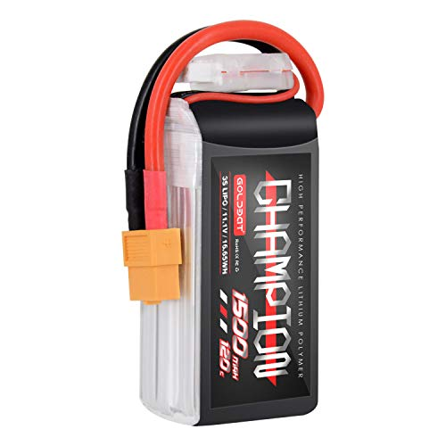 GOLDBAT Champ 1500 mAh 3S Lipo FPV batteria 120C 11.1 V Lipo RC con batteria di collegamento XT60 per quadricottero FPV 250S Mini drone, Vortex Flip FPV (1 confezione da 3s1500 mah)