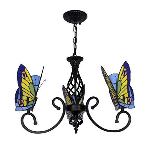 Tiffany stijl vlinder kroonluchter, gekleurd glas decoratieve hanger hanglamp, verstelbare plafondverlichting armatuur met smeedijzeren zwarte armen 3 lampen voor woonkamer dineren kamer keuken