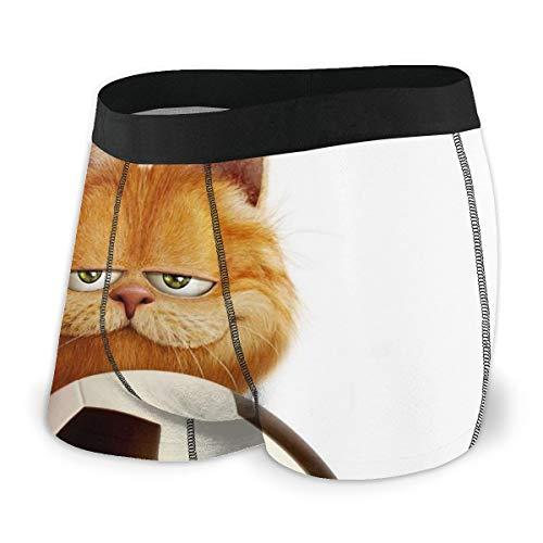 Garfield Cartoon Cat Herren-Unterwäsche, Stretch-Boxershorts für Herren, kurze Bein-Unterhose, atmungsaktiv, bequeme Faser Gr. L, Schwarz