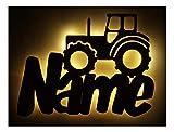 Schlummerlicht24 3d Led Möbel Deko-Licht Trekker Traktor-Lampe mit Namen Für Männer Mann Kinder Jungen Jungs ab 0 1 2 3 4 5 6 7 8 9 Monate Jahre Jähriges Zimmer-Einrichtung Bauernhof