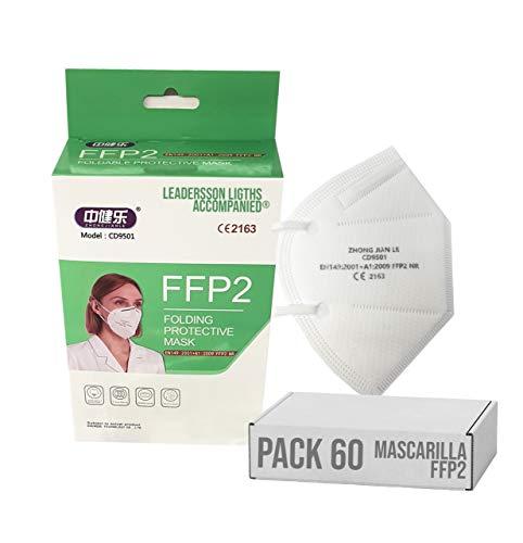 Mascarilla FFP2 CE 2163, Mascarilla de Protección Personal homologada. 5 capas. Alta Eficiencia Filtración BFE de 95%, blanco 60 piezas