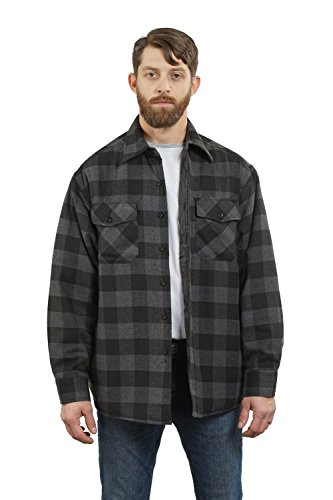 YAGO Men's Quilted Lined Long Sleeve Flannel Plaid Button Down Shirt YG2611 (Black/Gray, X-Large)