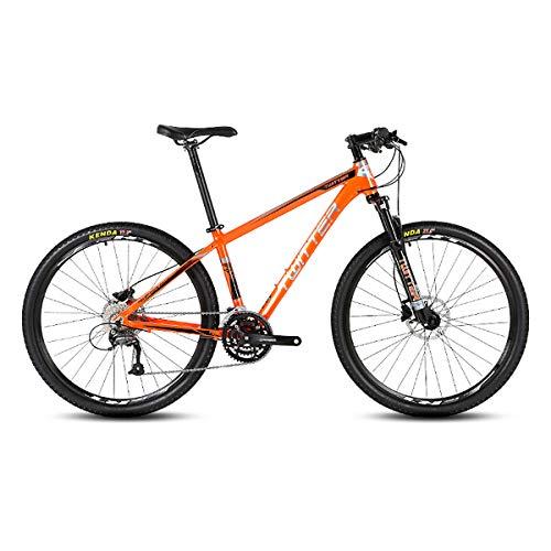 PXQ Adultos Bicicleta de montaña Shimano M370-27 velocidades línea Freno de Disco Apagado-Bici de Carretera, Bicicletas de aleación de Aluminio con Amortiguador 26/27.5 Pulgadas,Orange,26