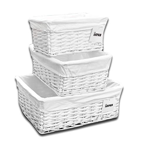 Arpan Set of 3 White Wicker Gift Hamper Storage Basket with White Cloth Lining