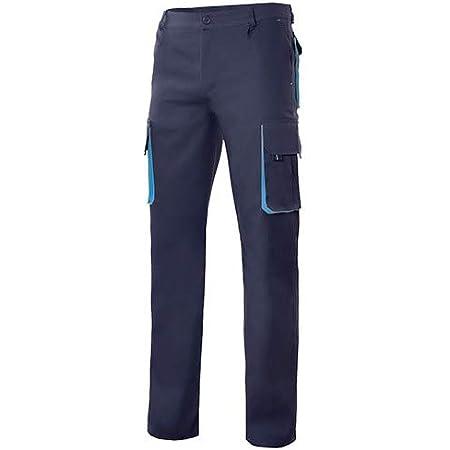 VELILLA - Pantalón Bicolor Multibolsillos con Refuerzo de Tejido 103004 Hombre Azul Navy-Celeste 42