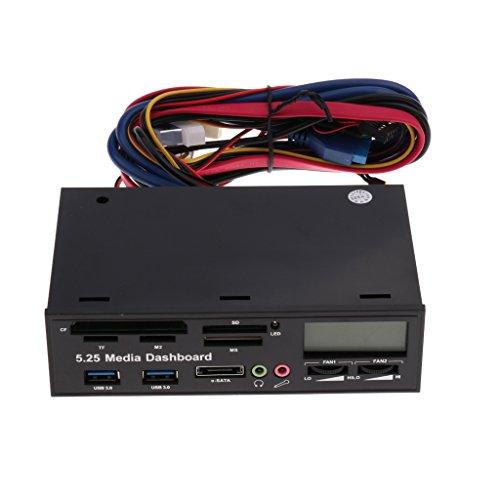 IPOTCH Lector de Tarjetas ESATA Dual USB 3.0 del Panel Frontal del Tablero de Instrumentos de Medios de Escritorio de 5.25 ''