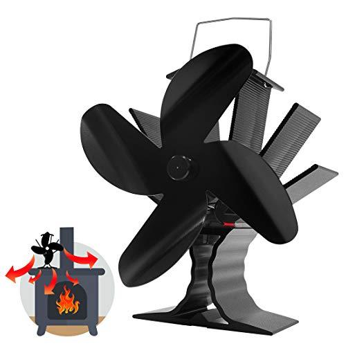 Signstek Kaminventilator 4 Lüfter Kamin Ofenventilator Kaminöfen Blade Stromloser Ventilator für Kamin Holzöfen Öfen ohne Strom Umweltfreundlich