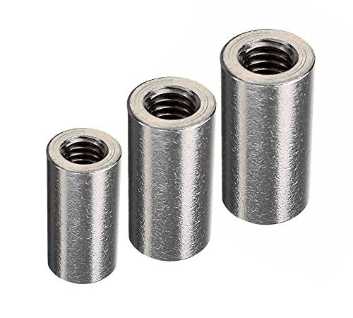 DOJA Industrial | Manguito roscado M10 | PACK 8 | Tuercas Largas Roscada Redondas | Tuerca de acero, Conector redondo para varilla roscada, manguitos roscantes de acoplamiento cilindrico
