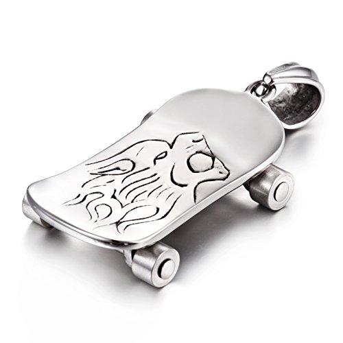 NELSON KENT Men \'s Lion Head Scooter Pendant Titanium Steel Necklace