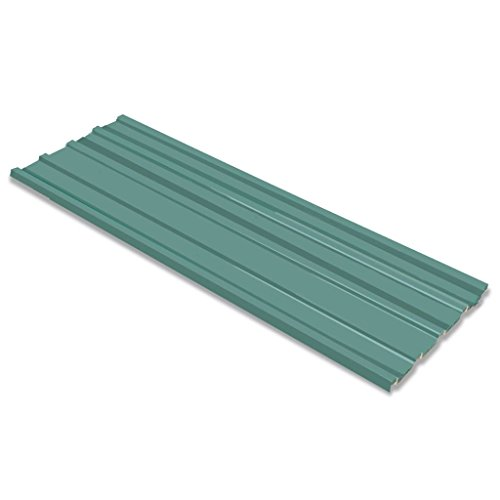 vidaXL 12x Roof Panels Galvanised Steel Green House Shed Sheet Roofing Covers