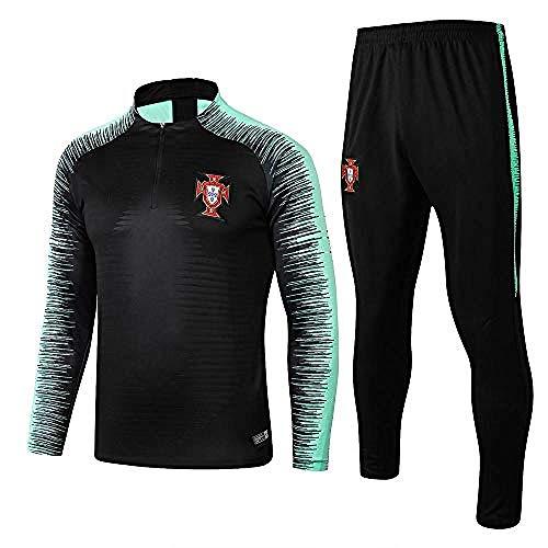 WJWA Trainingsanzug mit Langen Ärmeln Portugal Uniformi der Teams, Trainingsanzüge für Fußball, Mittel Zip Calda M Photo Color