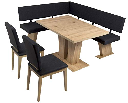 MSZ Design Eckbank Eckbankgruppe Essgruppe Verona 150 x 181 cm Artisan Eiche
