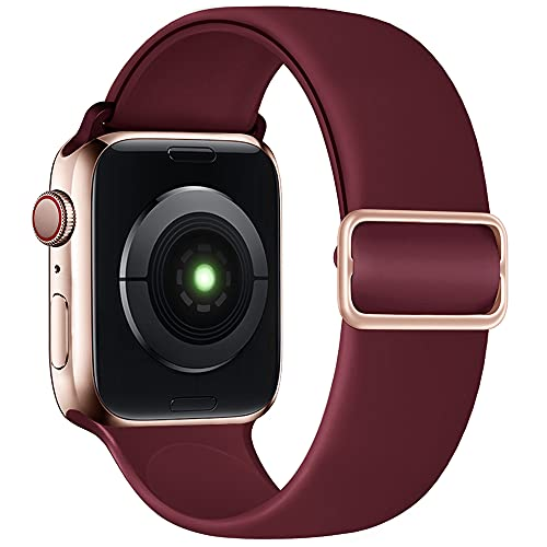 SIRUIBO Stretchy One Loop Band Compatible with Apple Watch Band 40mm 38mm, Adjustable Buckle Soft Silicon Sport Replacement Elastics Strap Women Men for iWatch Series SE/6/5/4/3/2/1, Wine Red