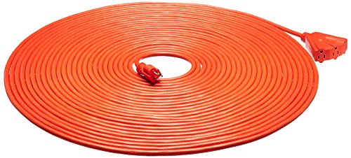 Amazon Basics 100-Foot 3-Prong Vinyl Indoor/Outdoor Extension Cord with 3 Outlets - 15 Amps, 1875 Watts, 125 VAC, Orange