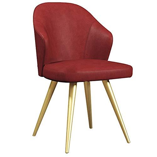 WHOJA Sillas de Comedor Silla de escritorio Asiento de cuero artificial Muebles de cocina Sillón de respaldo marco de metal Los 52x52x92cm Sillas de esquina (Color : Red)