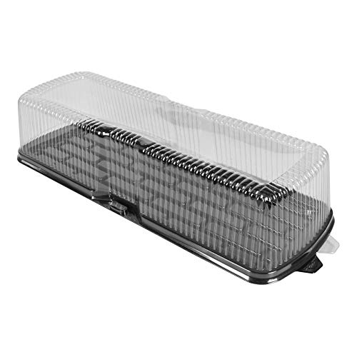 Wow Plastics Inc. Log Cake/Deli Container - 19.5' X 7' Long Rectangular Black Base - 4.25' Tall - 100/Case