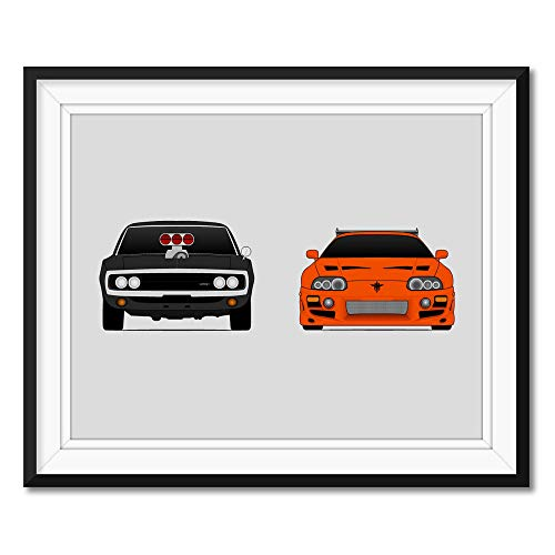 Fast and the Furious Dodge Charger and Toyota Supra MKIV Inspired Poster Print Wall Art Handmade Dominic Toretto (Vin Diesel) Brian O'Connor (Paul Walker)