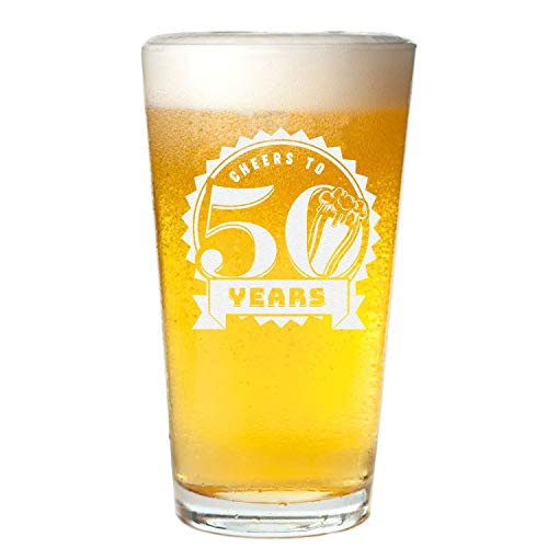 Veracco Cheers To 50 Fifty Years Beer Pint Glass 50th BirthdayGifts For Him Her 50 and Fabulous (Clear, Glass)