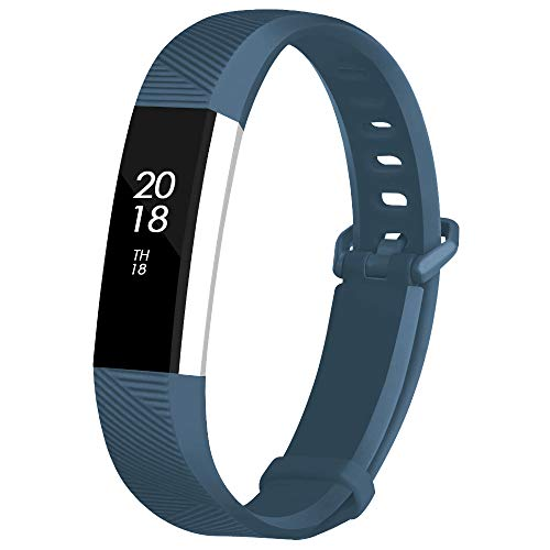 Fcloud Sport Watch Bands Compatible with Fitbit Alta/Fitbit Alta HR Soft Water Proof Fitness Straps for Women Men(Slate,Small)
