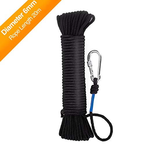 Wukong Cuerda 20m x 6mm– Cuerda de Tejiendo, Negro Cuerda de Pesca,...