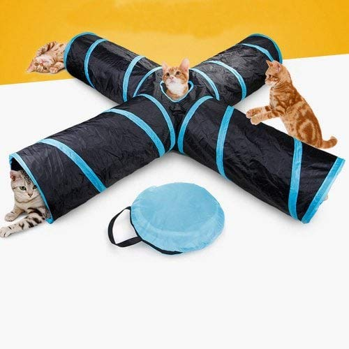 WZhen Waterproof Folding 4 Way Pet Tunnel Toy Tunnel Tube For Cats Dogs Puppy Rabbits - Black 65X25Cm
